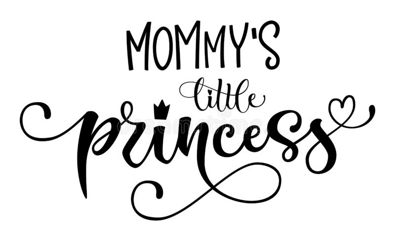 Mommy`s Little princess quote. Baby shower hand drawn modern calligraphy vector lettering, grotesque style text logo phrase vector illustration