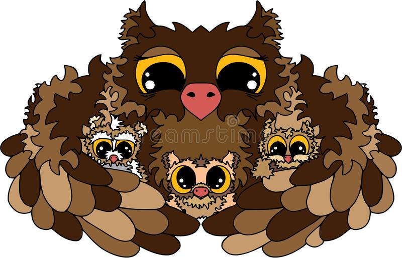 Mommy`s nights, baby sleeping, owls, happy family. Coloring on white vector illustration