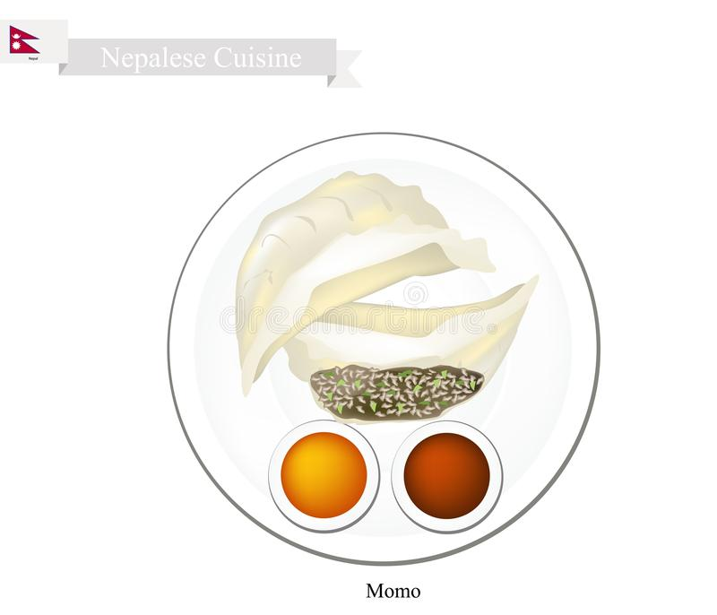 Momo or Nepalese Steam Dumplings with Sauce stock illustration