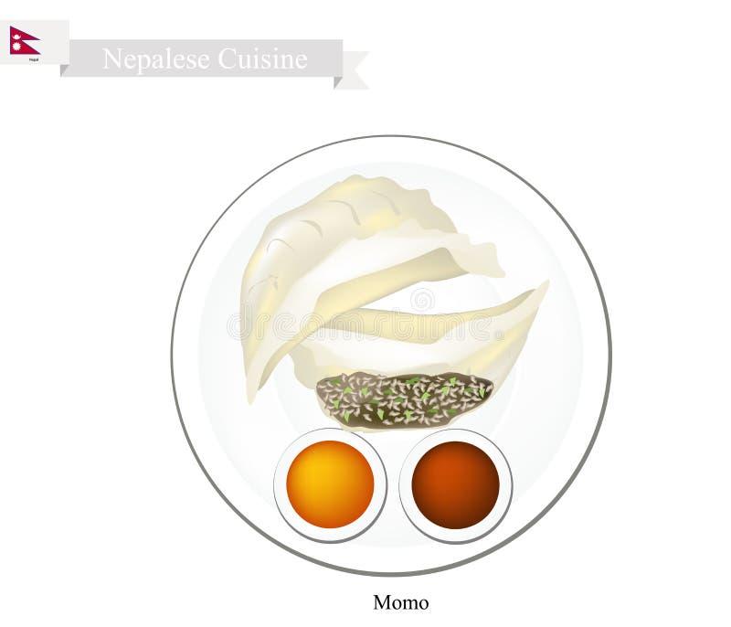 Momo of Nepalese Stoombollen met Saus stock illustratie
