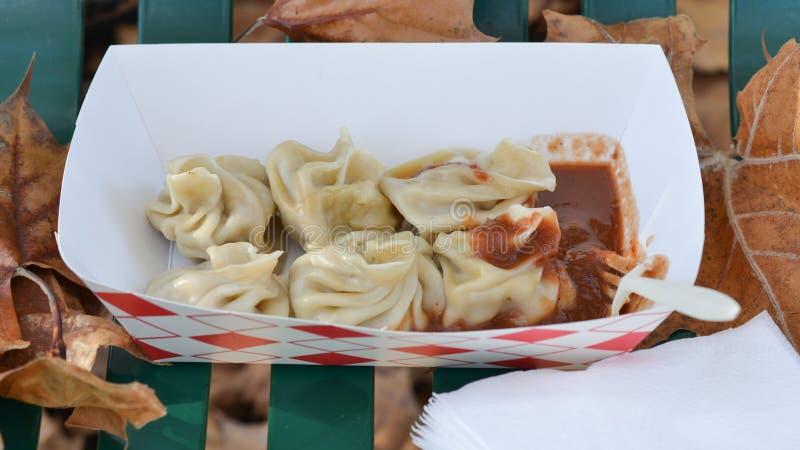 Momo traditional Indian dumplings stock photo