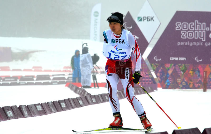Momoko Dekijima (Japan) competes on Winter Paralympic Games in Sochi. SOCHI, RUSSIA - March 11, 2014: Momoko Dekijima (Japan) competes on Winter Paralympic Games royalty free stock photography