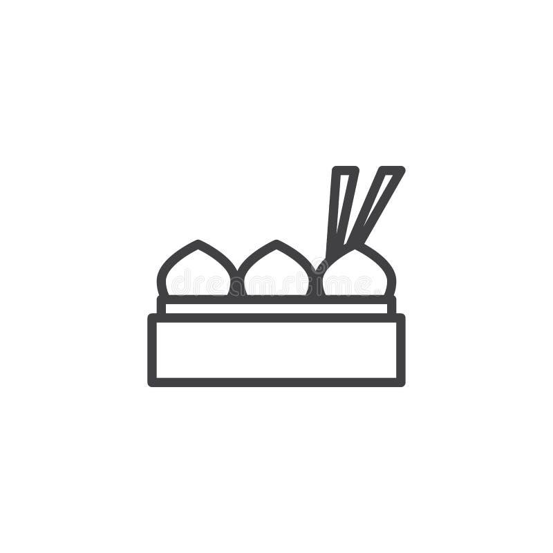 Momos dello gnocco con l'icona del profilo del bastoncino illustrazione vettoriale