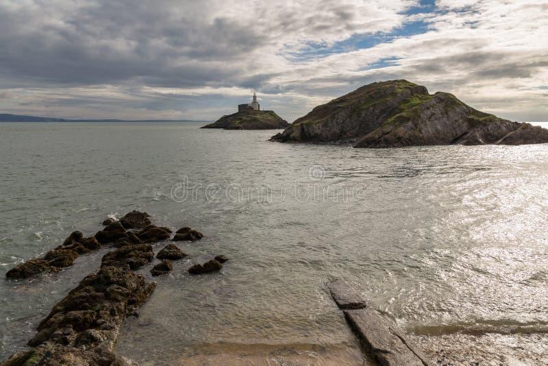 Mompelt Hoofdvuurtoren, Swansea, het UK stock fotografie