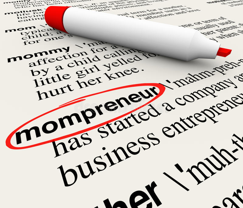 Mompreneur-Unternehmer-Mother Working Home-Geschäfts-Wörterbuch stock abbildung