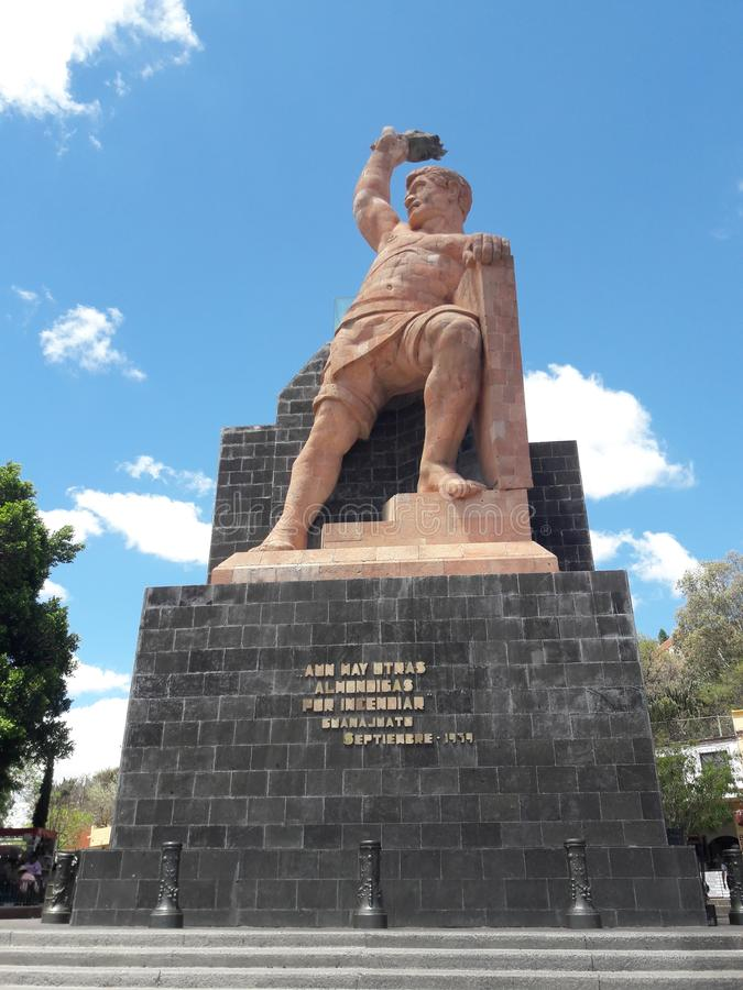 Momunent στο άγαλμα Pipila Guanajuato Μεξικό του ιστορικού αριθμού στοκ φωτογραφία
