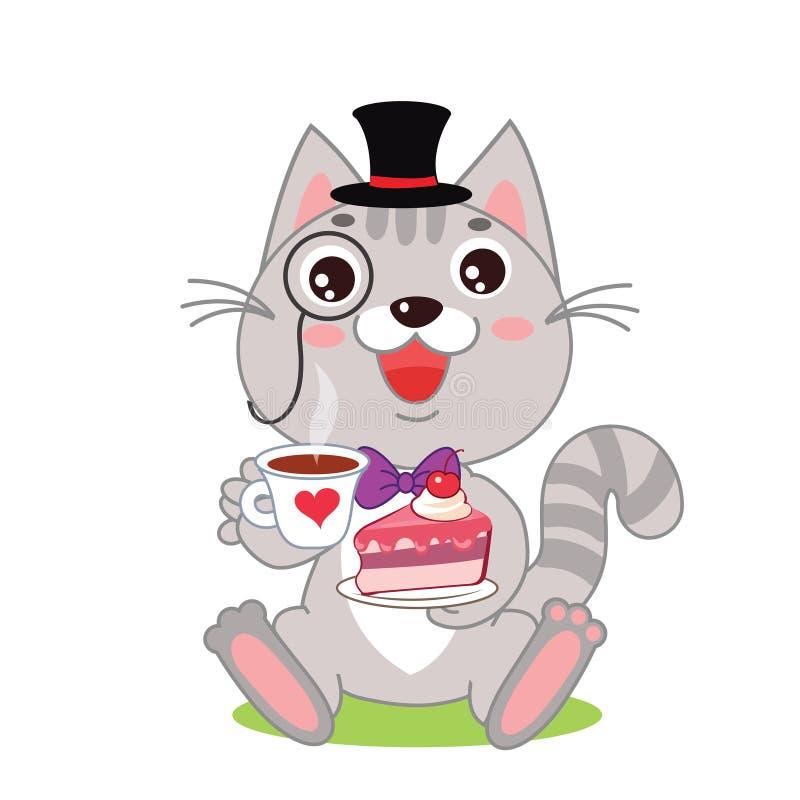 Monóculo engraçado de Cat In Bowler Hat And, e bolo em suas mãos ilustração do vetor