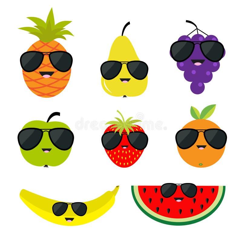 Monóculos dos óculos de sol do grupo do fruto e de baga Cara do personagem de banda desenhada Banana, morango, laranja, abacaxi,  ilustração royalty free