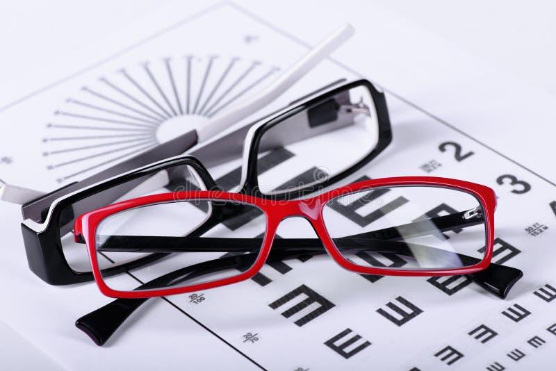 Monóculos e carta de olho imagem de stock