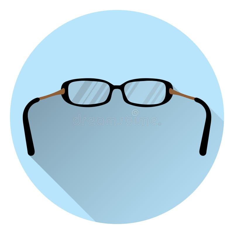 Monóculos para a visão No fundo azul redondo com sombra Estilo liso, ícone ilustração stock
