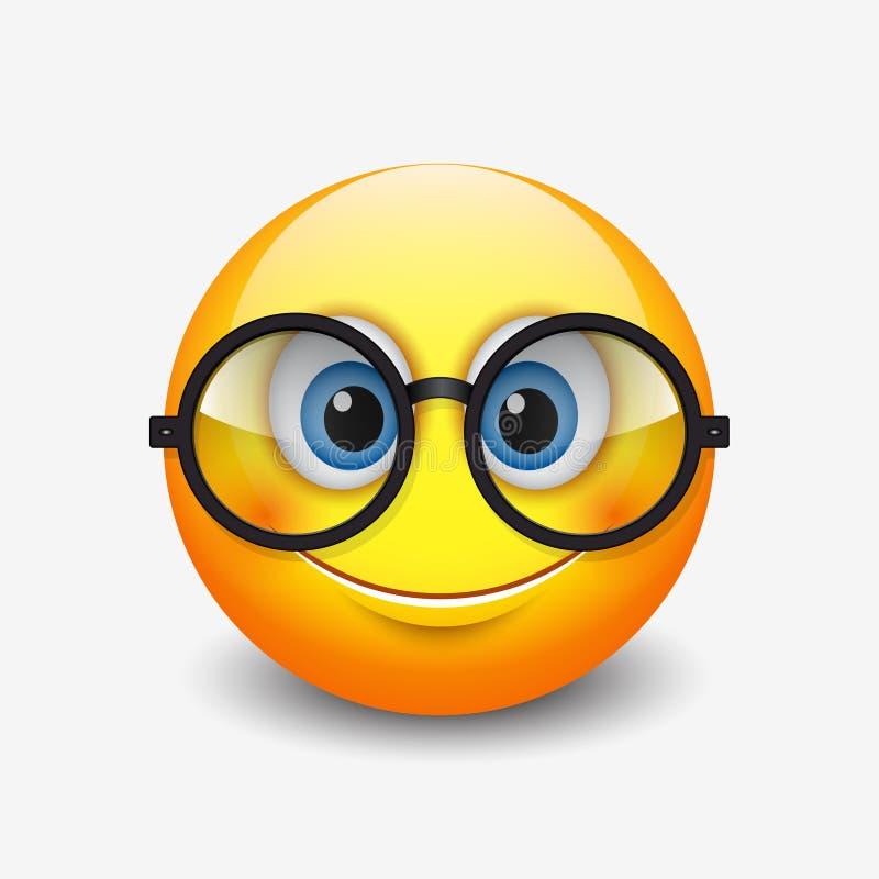 Monóculos vestindo de sorriso bonitos do emoticon, emoji, smiley - vector a ilustração ilustração do vetor