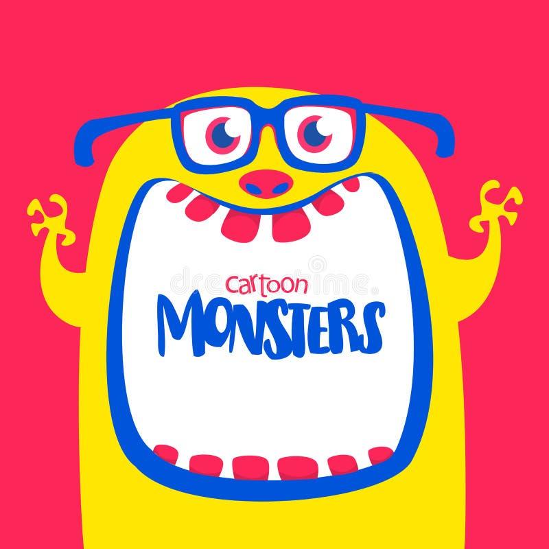 Monóculos vestindo do monstro horned amarelo engraçado dos desenhos animados Monstro engraçado com a boca aberta largamente Ilust ilustração royalty free