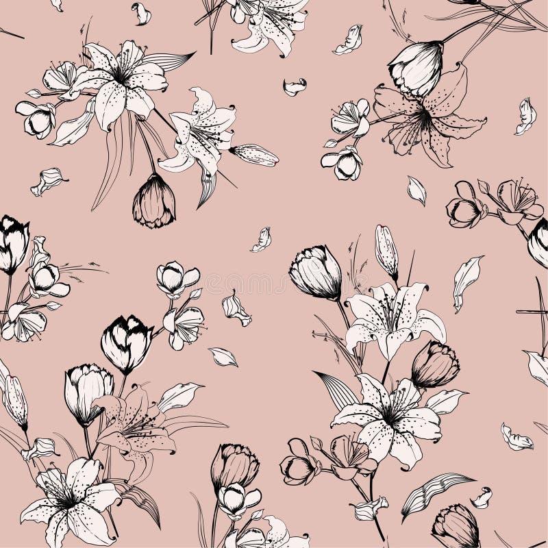 Monótono en bosquejo desnudo del esquema del rosa en colores pastel y lirio dibujado mano ilustración del vector