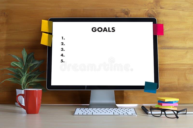 MON écriture de BUTS de cible écrite par note de motivation Succes photo stock