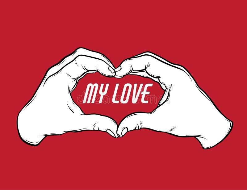Mon amour Dirigez l'illustration tirée par la main des mains humaines avec l'inscription illustration stock