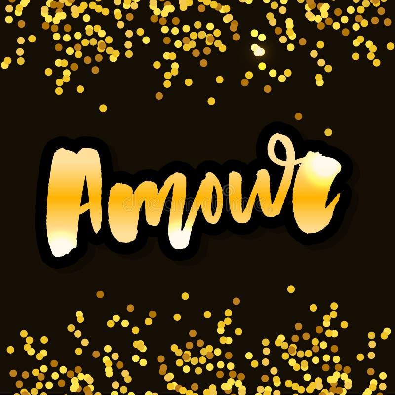 Mon amour pocztówka Mój miłość w Francuskim Zwrot dla walentynki ` s dnia Atrament ilustracja Nowożytna szczotkarska kaligrafia o royalty ilustracja