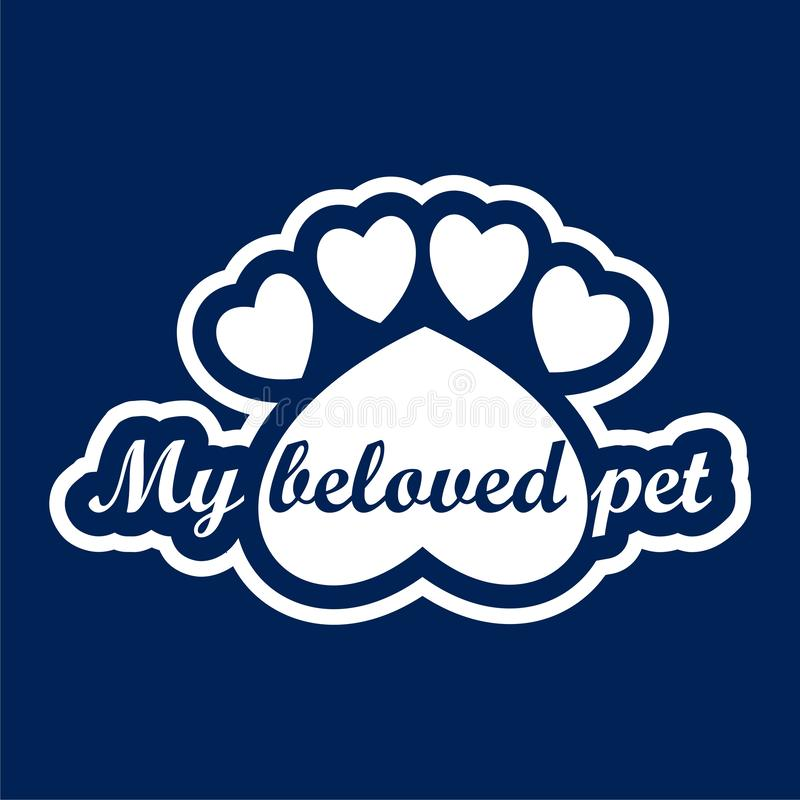 Mon animal familier aimé, calibre de conception de logo de vecteur pour des magasins de bêtes - illustration illustration stock