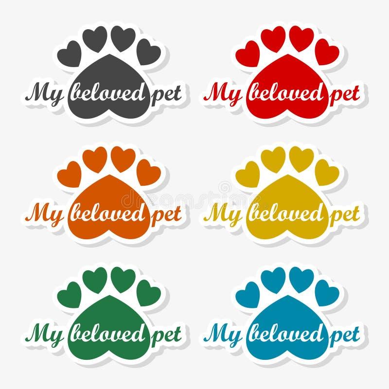 Mon animal familier aimé, calibre de conception de logo de vecteur pour des magasins de bêtes - illustration illustration libre de droits