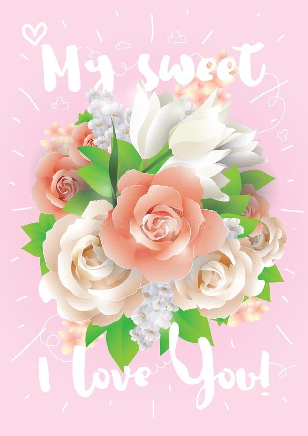 Mon bonbon je t'aime Carte de voeux, invitation ou affiche de vecteur Concevez avec des fleurs, des roses, et le texte Utilisable illustration de vecteur