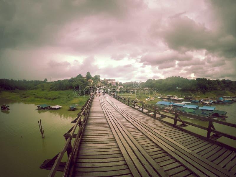 Mon bridgeUttama Nusorn Bridge in Sangkhlaburi district,Kanchanaburi province,Thailand.Thailand's longest wooden bridge and the royalty free stock images