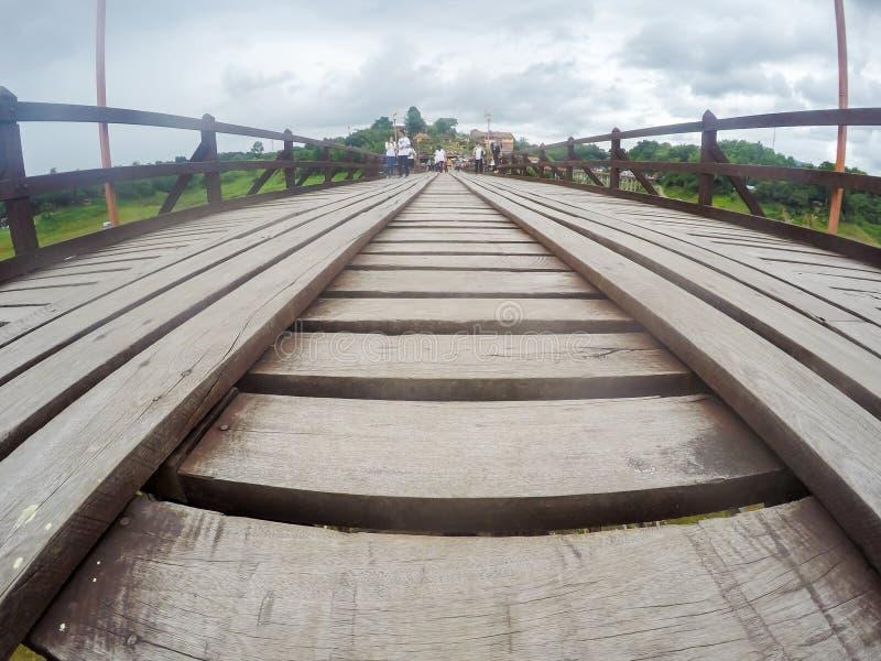 Mon bridgeUttama Nusorn Bridge in Sangkhlaburi district,Kanchanaburi province,Thailand.Thailand's longest wooden bridge and the royalty free stock image