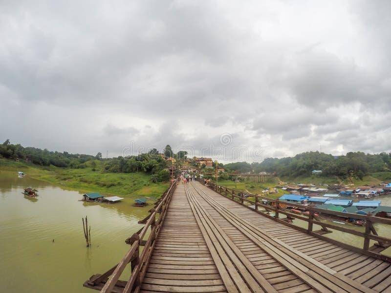 Mon bridgeUttama Nusorn Bridge in Sangkhlaburi district,Kanchanaburi province,Thailand.Thailand's longest wooden bridge and the royalty free stock photos
