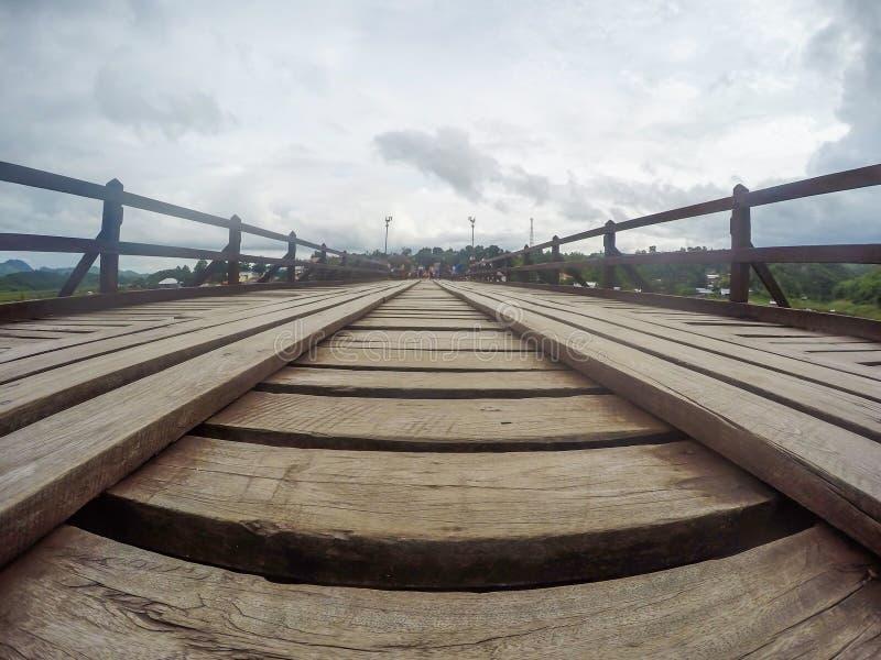 Mon bridgeUttama Nusorn Bridge in Sangkhlaburi district,Kanchanaburi province,Thailand.Thailand's longest wooden bridge and the stock image