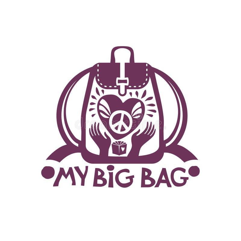 Mon grand sac à dos de sac avec un grand coeur et un symbole de paix dans des vos mains illustration stock