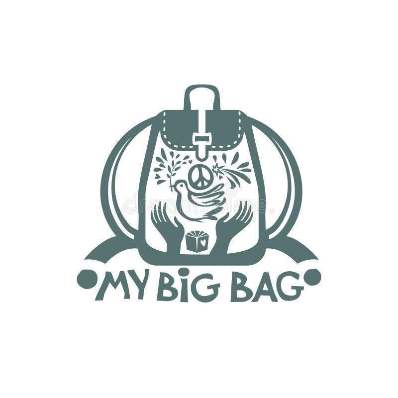 Mon grand sac Dirigez le sac à dos avec une colombe avec la branche et un symbole de paix dans des vos mains illustration de vecteur