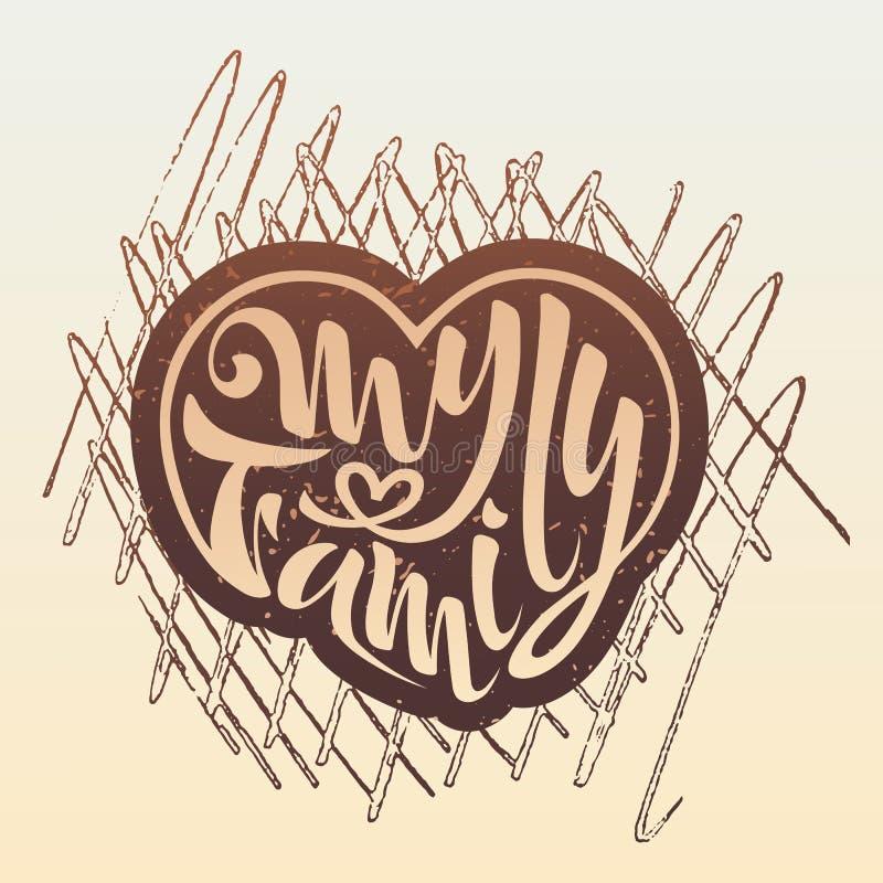 Mon illustration de famille du manteau de famille de logo d'insignes du lettrage de carte postale de bras images stock