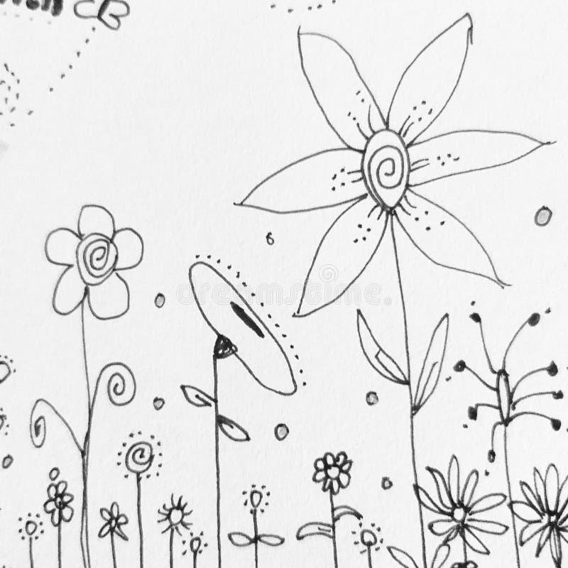 Mon oeuvre d'art toute dessinée par moi Fleurs dans le jardin Rebecca 36 images libres de droits