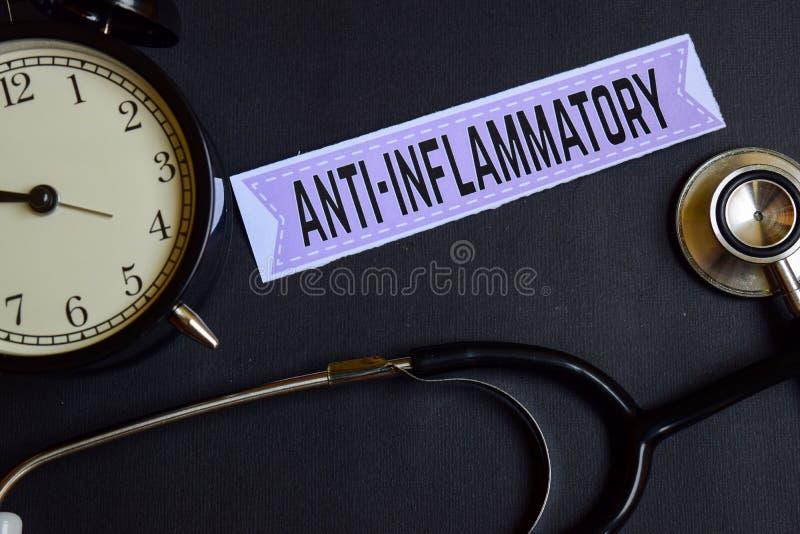 Mon Presctiption sur le papier d'impression avec l'inspiration de concept de soins de santé réveil, stéthoscope noir Anti-inflamm photos stock