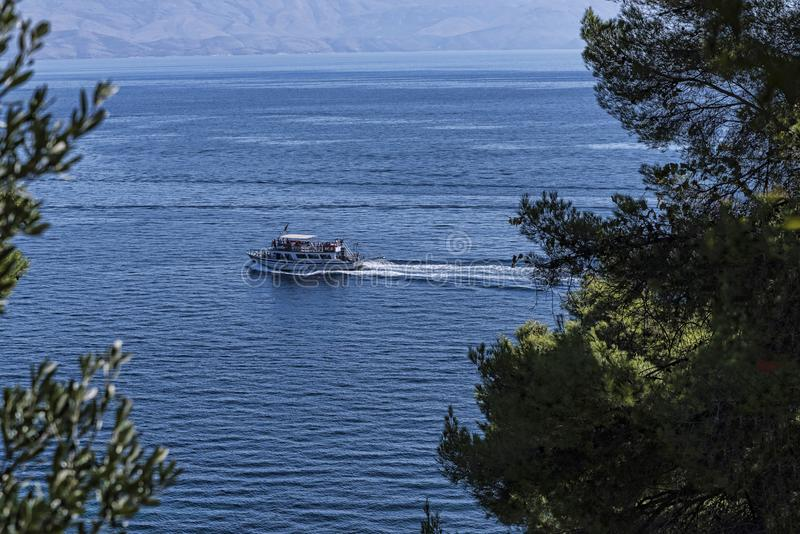 View of the sea from the Grounds of the Mon Pepose Palace in Corfu Greece stock photo