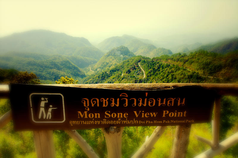 Mon Sone View Point. Doi Pha Hom Pok National Park, formerly known as Mae Fang National Park is the northernmost national park in Thailand. It straddles Fang stock photography