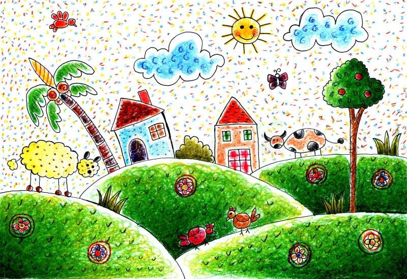 Mon village aimé illustration stock