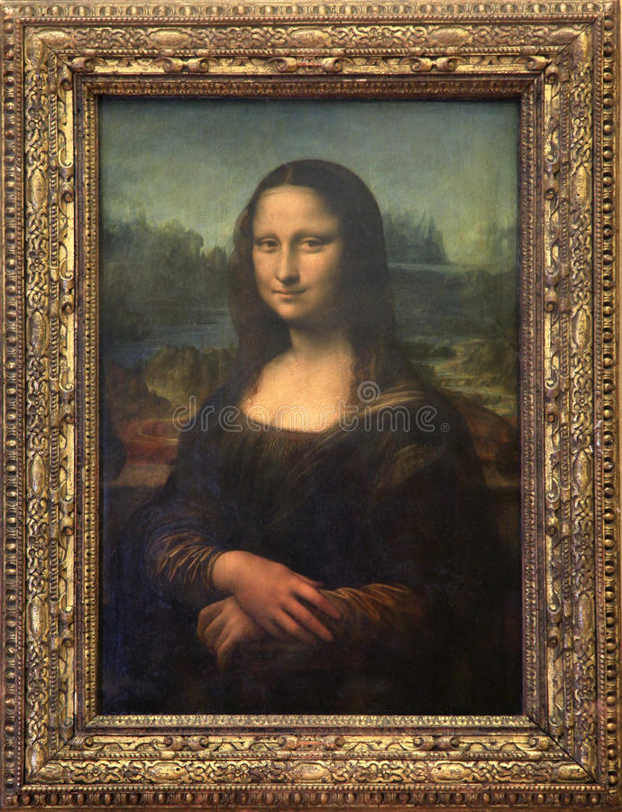 Mona Lisa canvas at Louvre Museum in Paris royalty free stock image