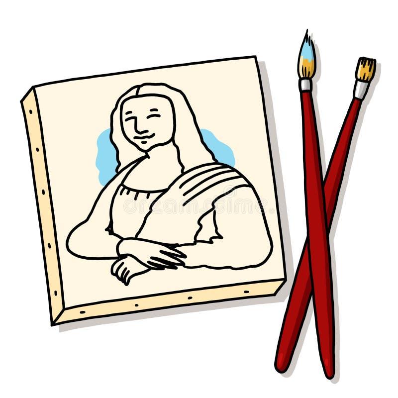 Mona Lisa Canvas Painting met Borstels stock illustratie