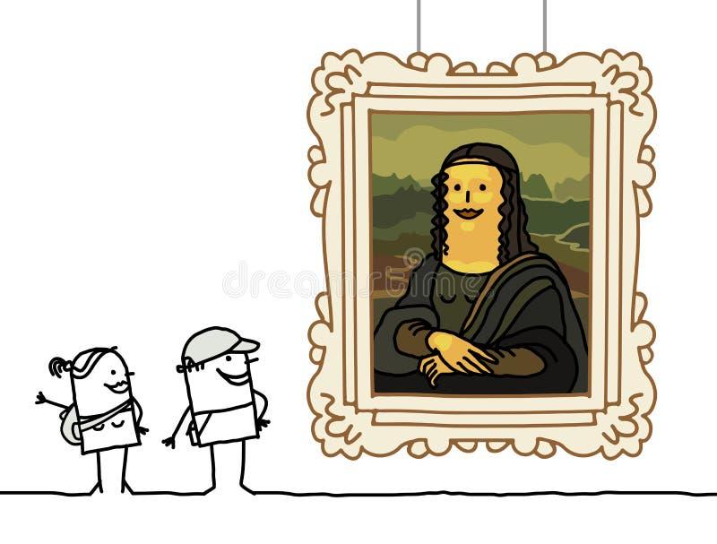 Mona Lisa cartoon. Hand drawn characters