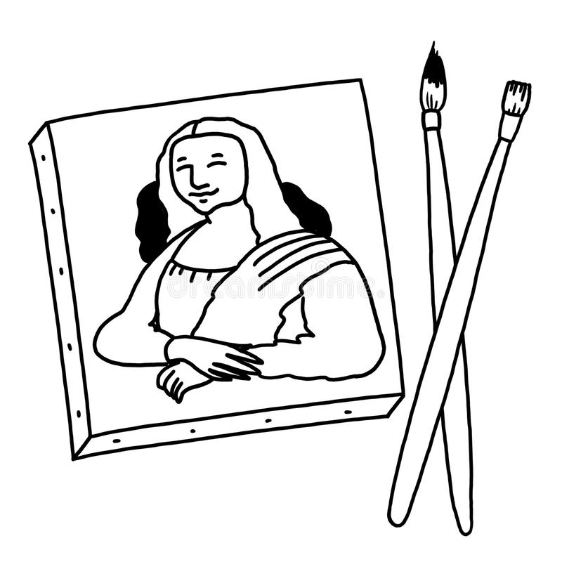 Mona Lisa che dipinge illustrazione in bianco e nero royalty illustrazione gratis