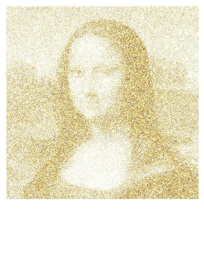 Mona Lisa confetti z?oty poj?cie ilustracji
