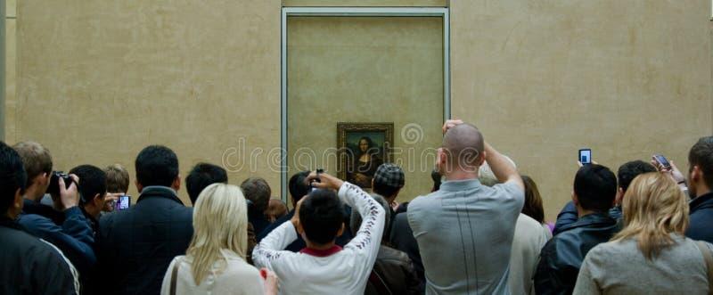Mona Lisa crowd stock photo