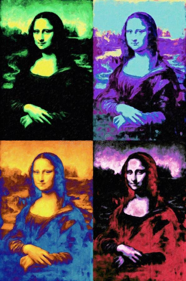 Mona Lisa da pintura de Leonardo da Vinci no estilo do pop art ilustração royalty free