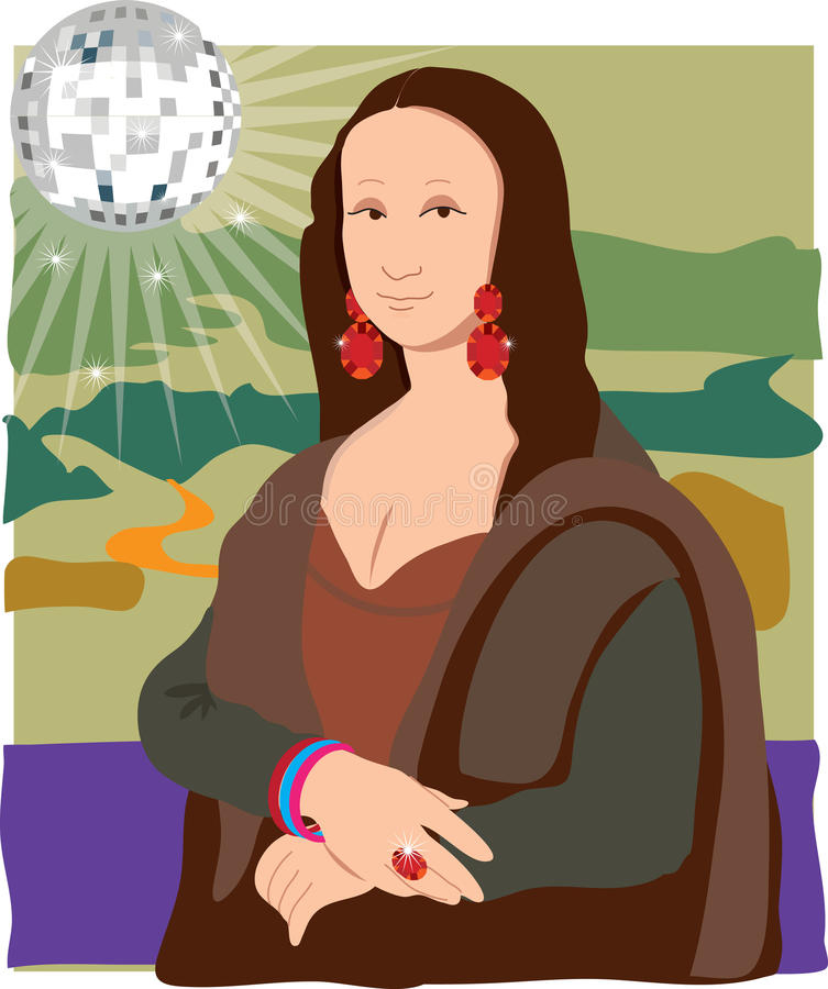 Mona Lisa Disco Lady royalty free illustration