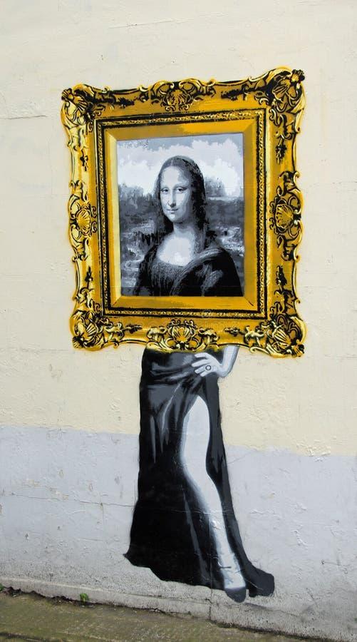 Mona lisa fora da pintura do catman do quadro imagem de stock royalty free