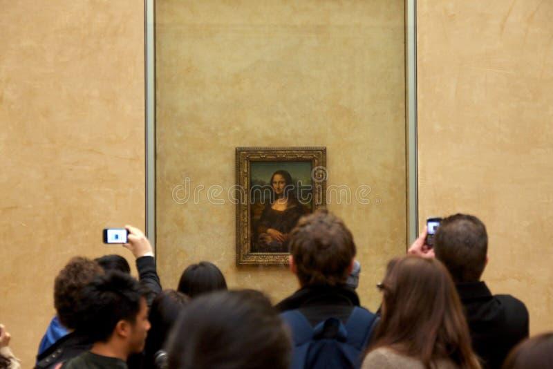 Mona Lisa in het Louvre stock afbeelding