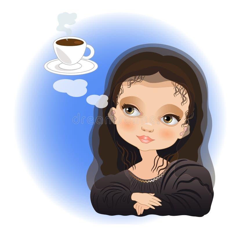 Mona Lisa i istna Włoska kawy espresso kawa ilustracja wektor