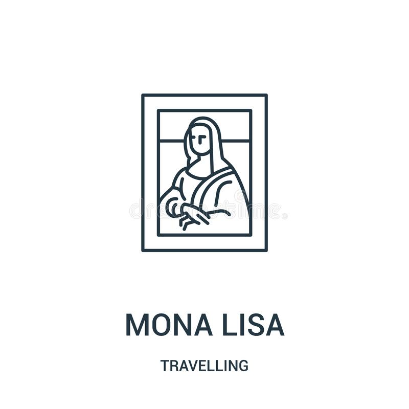 mona lisa icon vector from travelling collection. Thin line mona lisa outline icon vector illustration. Linear symbol stock illustration