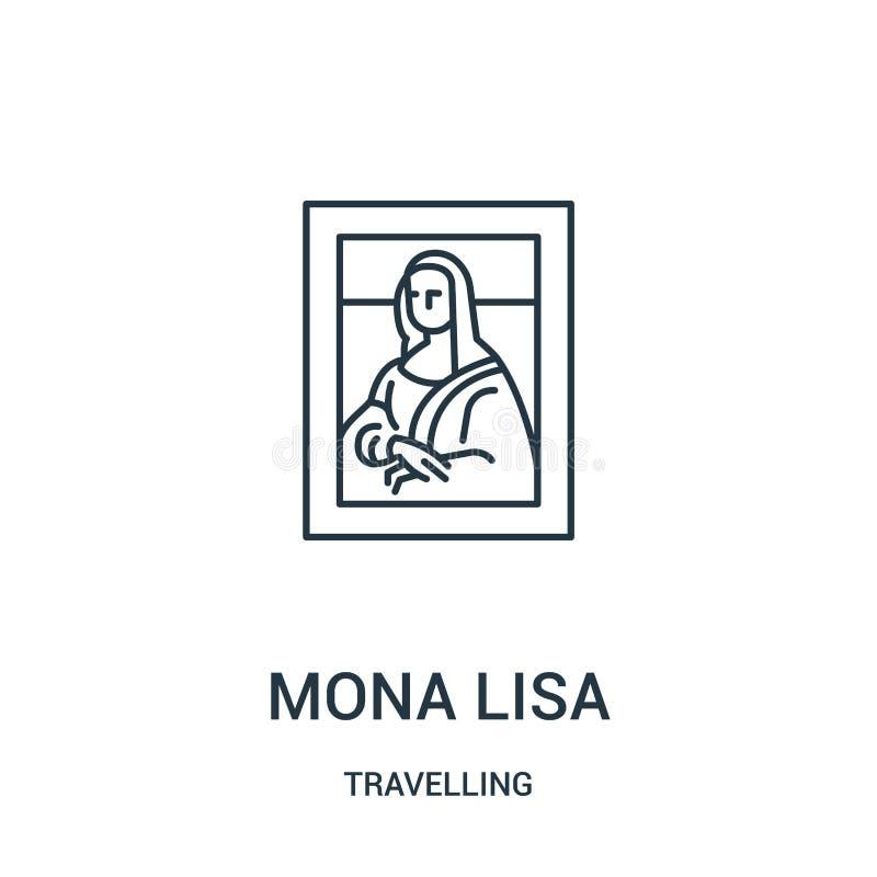 mona Lisa ikony wektor od podróżnej kolekcji Cienka kreskowa Mona Lisa konturu ikony wektoru ilustracja Liniowy symbol ilustracji