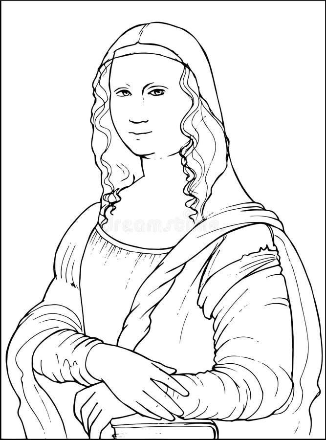 Mona Lisa kolorystyki wektoru ilustracja ilustracji