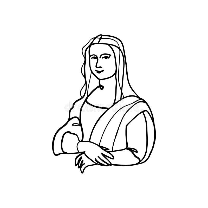 Mona Lisa kreskowa sztuka ilustracja wektor